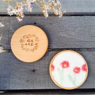 Pre-order-gp home Spring Blossoming Wool Felt Wood Coaster
