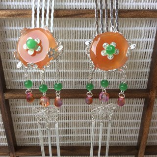 Hand-made ~ meow red agate jade peace buckle small comb (one pair)