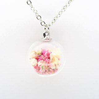 「OMYWAY」Handmade Dried Flower Necklace - Glass Globe Necklace