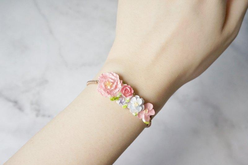 手工黏土裱花手鍊 可客製 (玫瑰金)