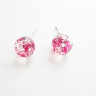 *Rosy Garden*Pink crystal water inside glass ball stud earrings