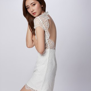 Paris Open Back Lace White Dress