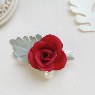 Elegant Red Rose Fabric Flower Hair Clip,gift for her, hair accessories