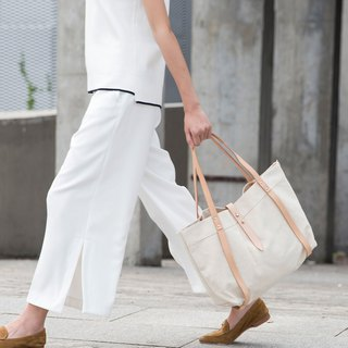 JulyChagall canvas with tanned leather tote bag TOTE original wild hand bag shoulder bag female white