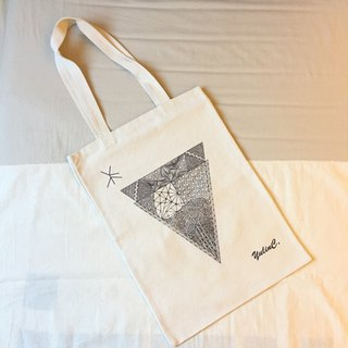 Canvas Eco bag in Tangles Art/ Grey DUO Triangles