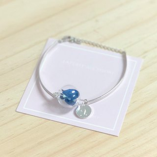 Preserved flower blue bangle  glass ball bracelet personalized