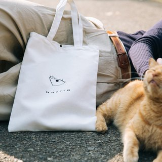 New era fat cat hand-stamped canvas bag