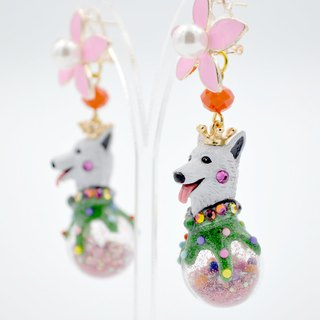 TIMBEE LO black and white dog snowball earrings pair on sale