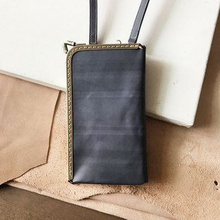 Universal mouth gold bag _ mobile phone bag _ leisure card layer _ can be hanging neck side back _ straight gray blue