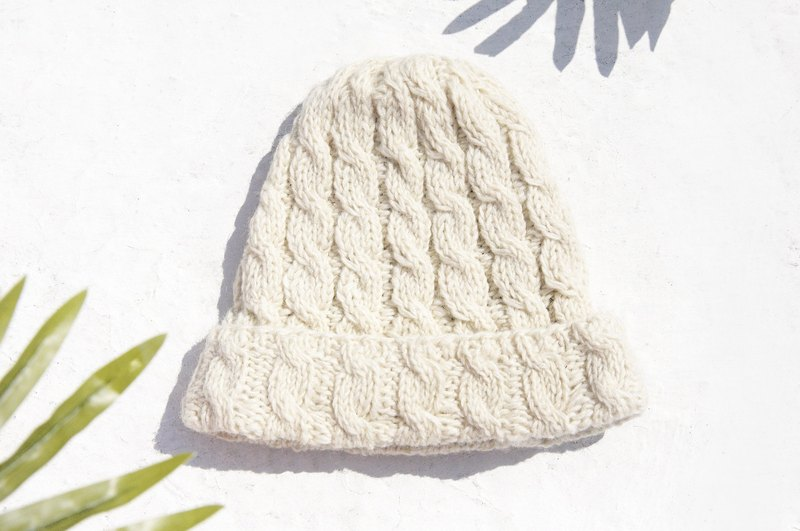 d6004534ea6 Hand-knitted pure wool cap   knit hat   knitted fur cap   inner brush