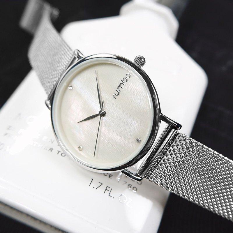 rumba time RU27709 紐約品牌 珍珠母貝 不鏽鋼手錶 銀色 32mm