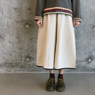 Japanese-style hook-and-roll linen hemp wide pants | Khaki