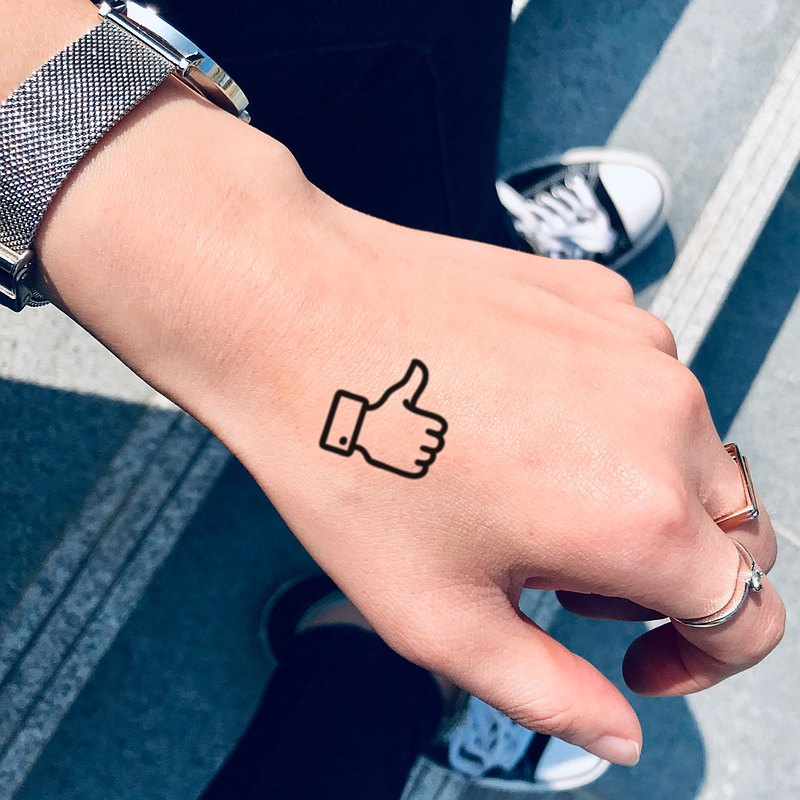 Thumbs Up Temporary Tattoo Sticker (Set of 6) - OhMyTat