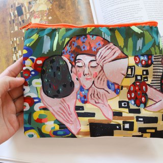 Canvas Pencil Case  ( The kiss Gustav Klimt )