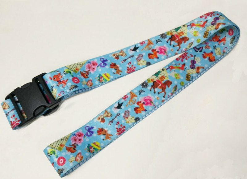 LB06 : Light blue fun and cute pattern luggage strap