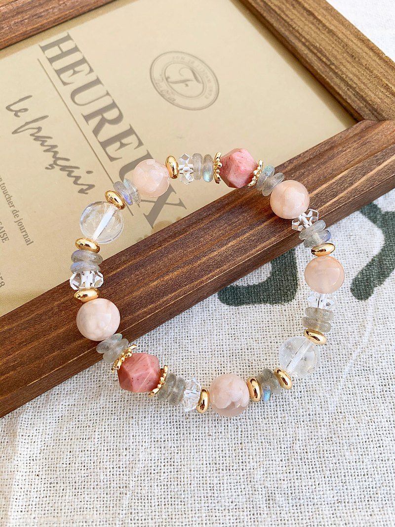 Hand-made design energy crystal bracelet pink cherry agate/rhodonite/labradorite/white crystal
