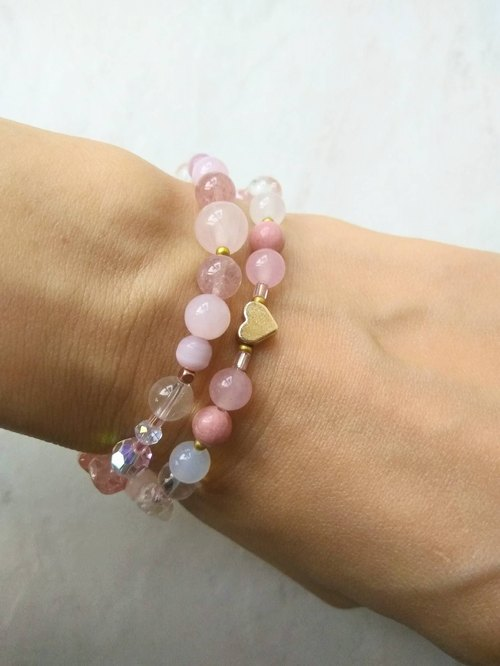 Soft beauty [Heart treasure] 24K gold-plated heart type. Pink crystal. Strawberry crystal. Powder chalcedony. Red stone. Watermelon crystal multi-ring two ring bracelet female gift