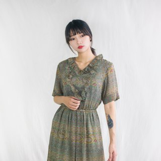 Purple green totem black rice five-point sleeves vintage dress