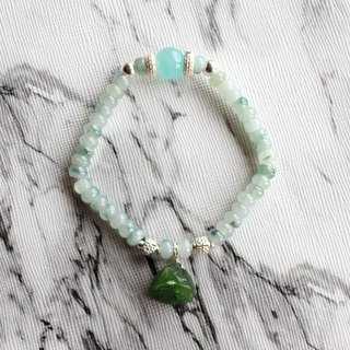 Journal-Bi-blue sky ice blue flower pure natural jade (Burma jade) sterling silver elastic bracelet