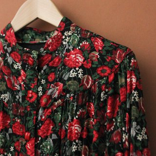 Vintage Autumn Winter Red Flowers Floral Thick Long Sleeve Vintage Dress Vintage Dress