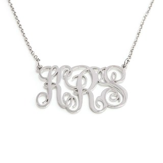 Custom 3 caps Monogram font necklace