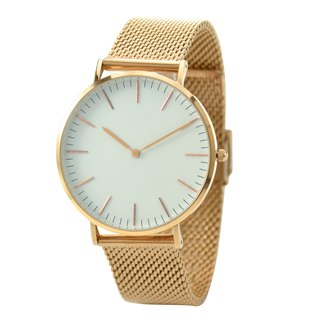 Classic Minimalist Watch with Mesh Band Rose Gold - Free shipping worldwide