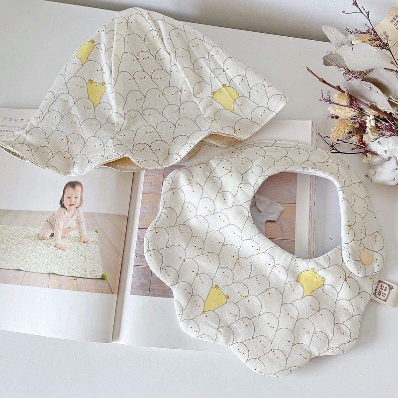 黃色小雞 韓國製有機棉 彌月禮盒 兩件組 手工寶寶漁夫帽+圍兜