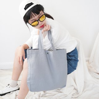 Casual Linen Tote Bag (Blue-Grey)