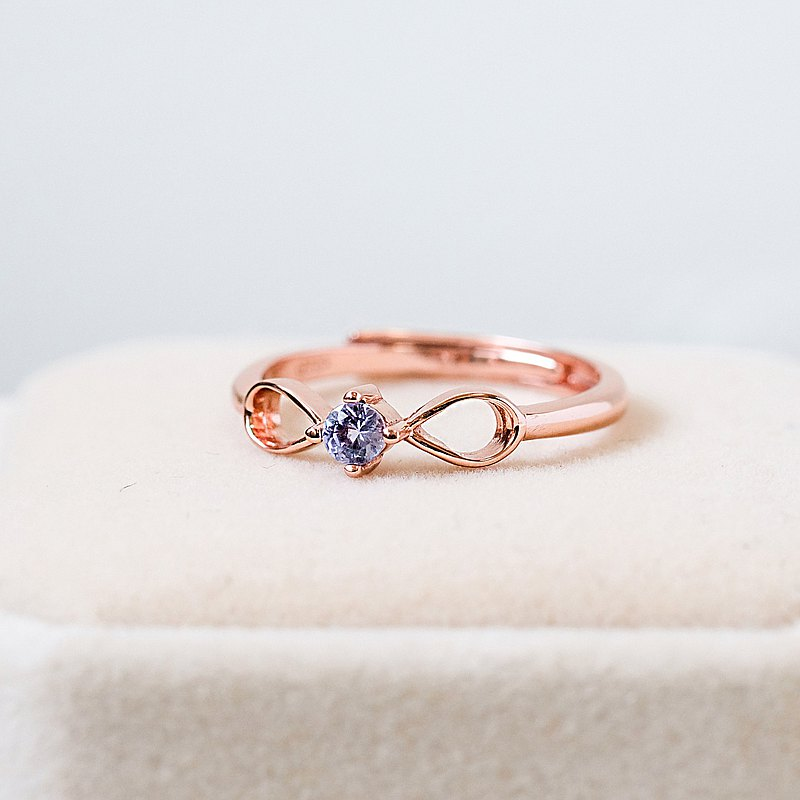 Tanzanite 925 Silver Rose Gold Ring Infinity Eternity Innocent December Birthstone