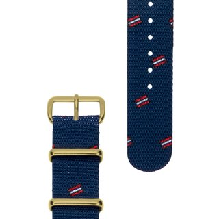 HYPERGRAND Military Strap - 20mm - Vienna Blue Danube (Gold Button)