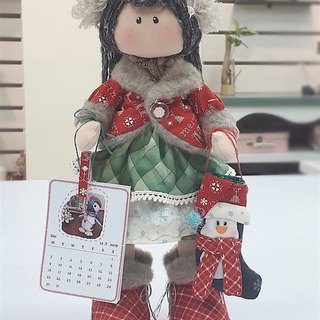 December calendar girl handmade rag doll