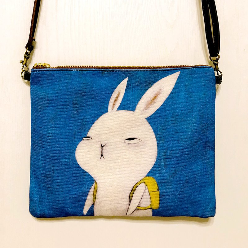emmaAparty illustration crossbody bag: rabbit who doesn't want to go to work