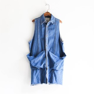 River Water Mountain - Shimane Water Blue Sentimental Tank Love Season Antique Cotton Top Vest