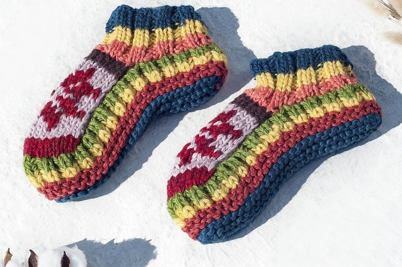 Old grandma crocheted socks, hand-knitted pure wool knit socks/inner brushed striped socks/wool crocheted stockings/warm wool socks, Christmas gifts, Valentine's day gifts, exchange gifts, birthday gifts-Fun Snow