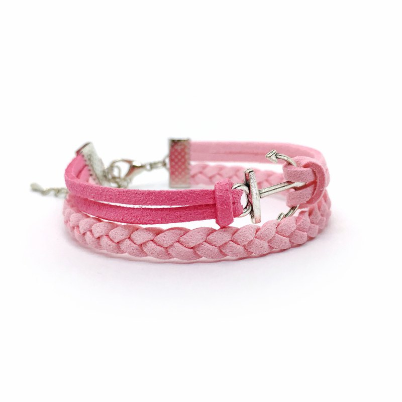 Handmade Double Braided Anchor Bracelets –pink limited