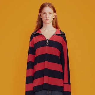 UNISEX STRIPED HIGH NECK T-SHIRT / Red / Navy Stripe