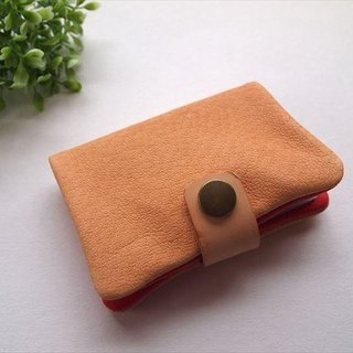[Beige × red] pig leather soft card case [MTO]