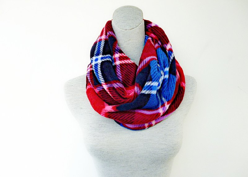 Double-sided hemp, purple red plaid thick brush, neck, neck, small scarf