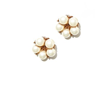 Japanese cotton pearl earrings brown gold cotton pearl earrings pre-order