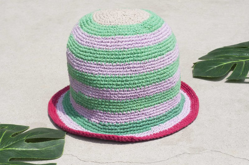 Chinese Valentine's Day gift limited a piece of land forest stitching hand-woven cotton hat / fisherman hat / sun visor / patch hat / handmade hat / hand crocheted hat / hand-woven-original summer strawberry mint striped cotton hat