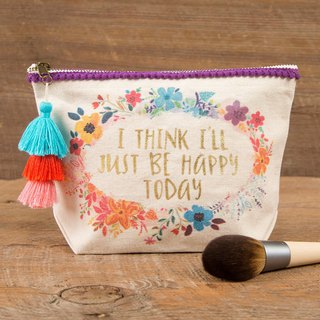 Wool fringed canvas cosmetic bag -Happy today