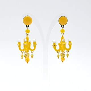 French enamel lemon yellow signature style mini chandelier earrings seven colors rainbow multicolor selection