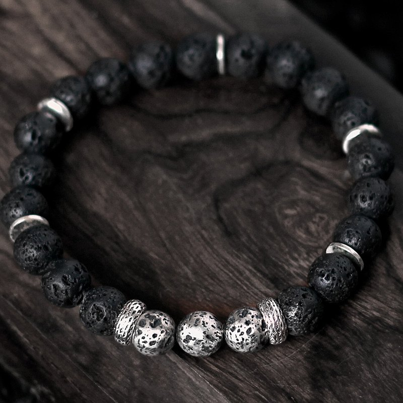 Heiyan Suisheng. Natural ore hand beads black volcanic stone solid silver volcanic stone original energy