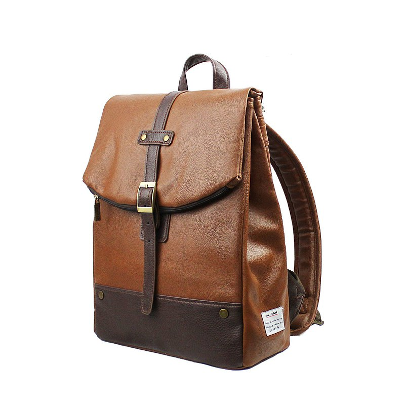 AMINAH-Brown Simple Leather Backpack-Leather Label Branding [am-0304]