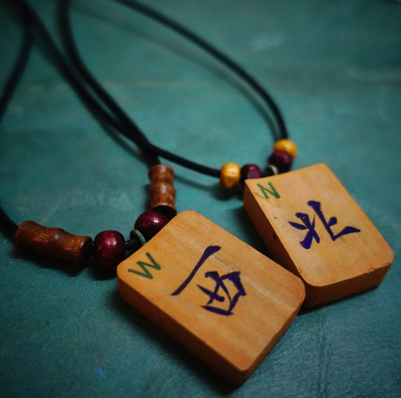 EARTH.er │● Handmade Natural Bamboo Funny Chinese Mahjong Necklace│