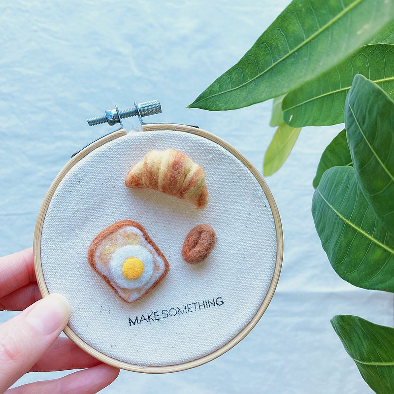 Needle Felted mini breakfast pins - set of 3