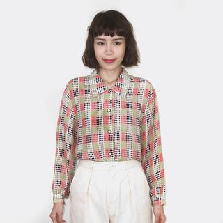 Vintage color plaid chiffon vintage long sleeve shirt BM4020