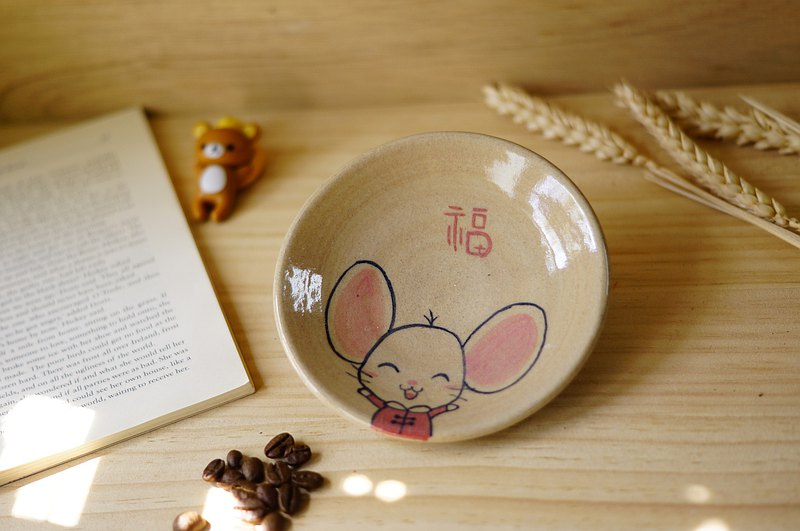 Cute animal hand-painted pottery plate, dinner plate, dinner plate, fruit plate, snack plate-diameter about 12 cm