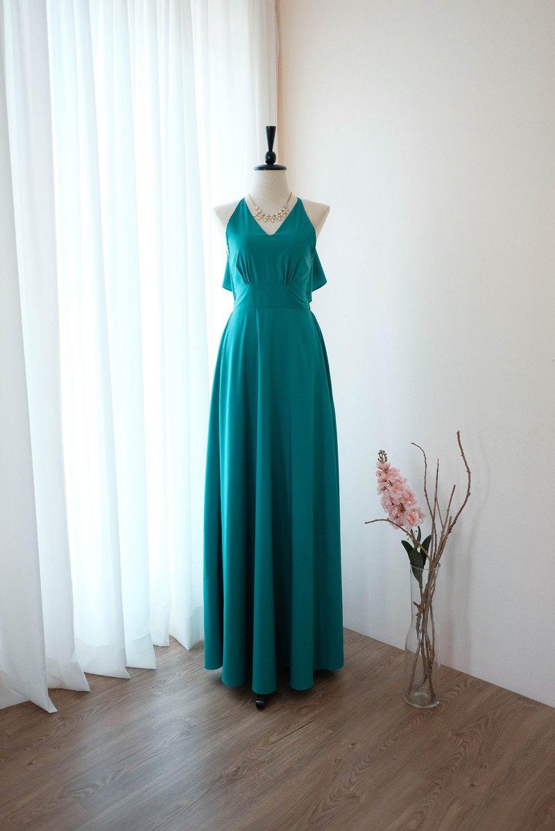 玉綠色禮服長款伴娘禮服雞尾酒舞會禮服