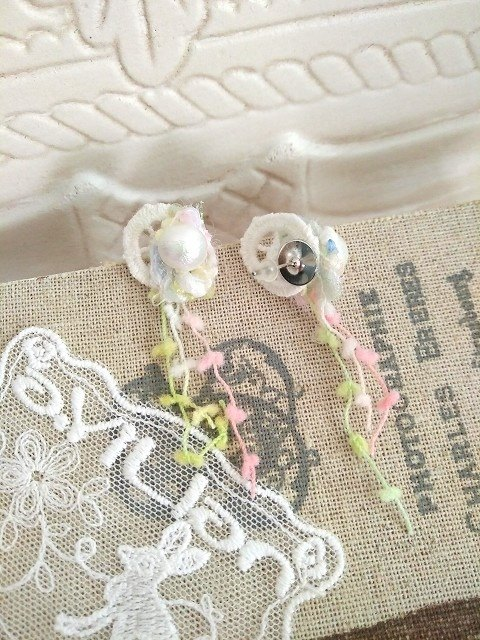 Garohands Japan imported cotton lace pearl earrings * feel romantic temperament snow D078 gifts